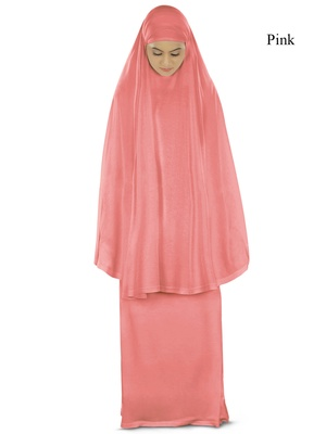 MyBatua Pink Khimar And Long Skirt Dua Prayer Set - Soft Viscose Jersey
