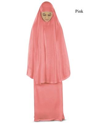 MyBatua Pink Khimar And Long Skirt Dua Prayer Set - Soft Viscose Jersey