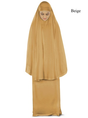 MyBatua beige Khimar and long skirt Dua Prayer Set - Soft Viscose Jersey