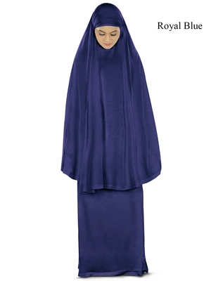 MyBatua Royal_Blue Khimar And Long Skirt Dua Prayer Set - Soft Viscose Jersey