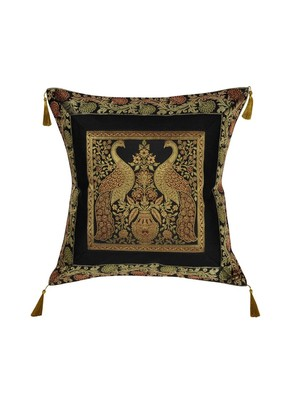 Lal Haveli Decorative Peacock Design Silk Cushion Cover 18 x 18 Inch