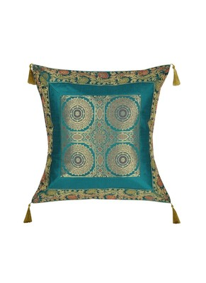 Lal Haveli Green Color Silk Single Cushion Cover 18 x 18 Inch