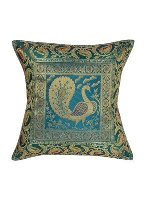 Lal Haveli Sofa Decorations Handmade Peacock Design Decorative Cushion Cover 16 x 16 Inch