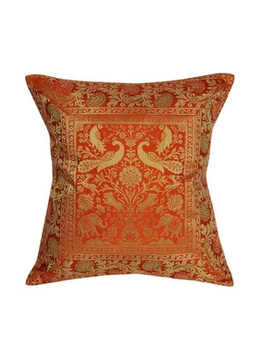 Lal Haveli Decorative Handmade Elephant Peacock Design Orange Color Silk Cushion Cover 16 x 16 Inch