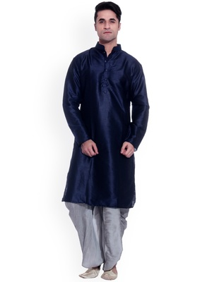 Blue Plain Silk Blend Dhoti Kurta
