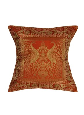 Lal Haveli Peacock Design Square Shape Silk Throw Pillow Cushion Cover 16 x 16 Inch