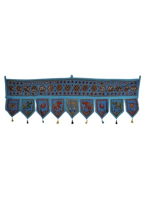 Traditional Handmade Mirror Work Design Embroidered Cotton Toran Hanging 56 X...