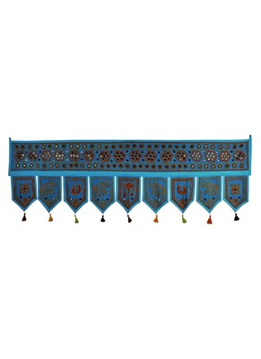Lalhaveli Hand Embroidery Work Design Cotton Mirror Work Door Hanging 56 X 18...