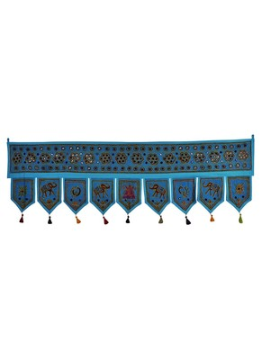Ethnic Handmade Embroidery Work Design Cotton Topper Window Valance 56 X 18 I...