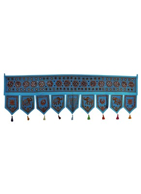 Mirror Work Design Cotton Door Hanging Toran 56 X 18 Inches