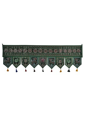Decorative Embroidery Work Design Cotton Door Hanging Toran 56 X 18 Inches