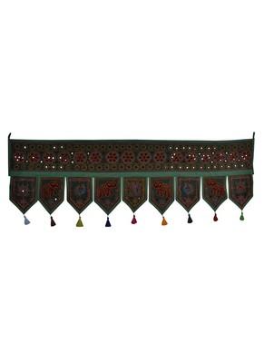 Embroidered Mirror Work Design Decorative Door Hanging 56 X 18 Inches