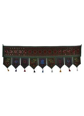 Mirror Work Design Embroidered Cotton Window Valance Topper 56 X 18 Inches