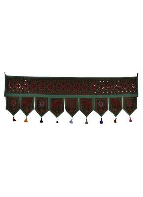 Mirror Work Decorative Embroidery Deisgn Cotton Door Hanging 56 X 18 Inches