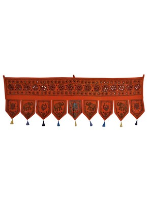 Traditional Handmade Embroidered Work Design Cotton Window Valance Toran 56 X...