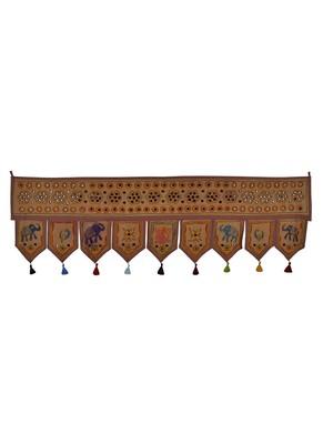 Jaipuri Embroidered Mirror Work Design Elegant Cotton Door Hanging 56 X 18 In...