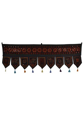 Elephant Embroidered Design Decorative Door Hanging 56 X 18 Inches