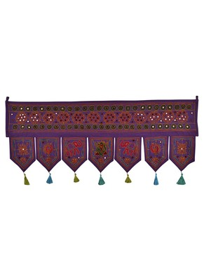 Mirror Work Design Embroidered Cotton Door Hanging 42 X 18 Inches