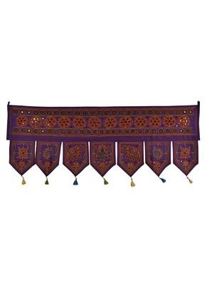 Rajasthani Handmade Mirror & Embroidered Work Design Cotton Door Valance 42 X...