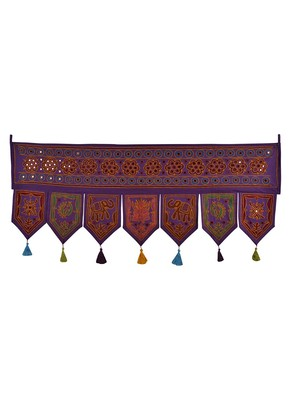 Embroidery & Mirror Work Design Cotton Indian Toran 42 X 18 Inches