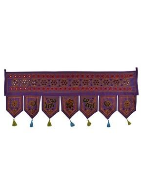 Lal Haveli Mirror Work Embroidery Work Design Cotton Door Toran Tapestry 42 X 18 inches