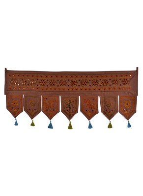 Handcrafted Mirror & Embroidery Mirror Work Design Home Decor Cotton Door Han...