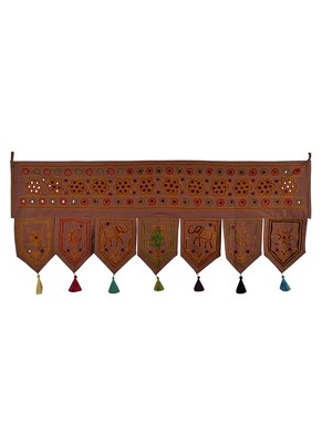 Handmade Embroidered & Mirror Work Design Door Toran 42 X 18 Inches