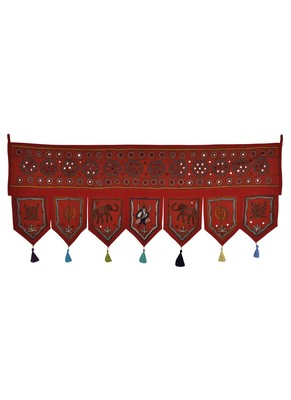 Mirror Work Embroidered Design Decorative Wall Tapestry 42 X 18 Inches