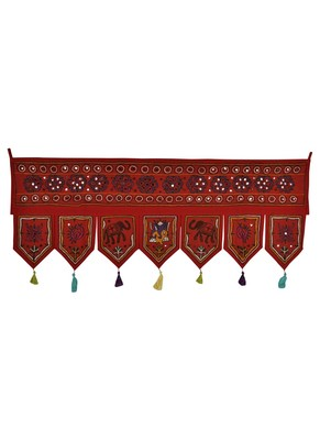 Vintage Embroidery Mirror Work Design Cotton Door Hanging Toran Tapestry 42 X...