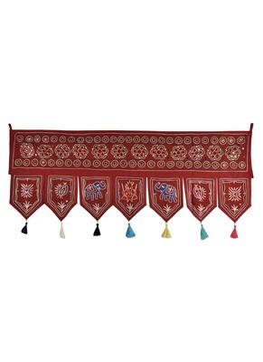 Indian Embroidered Mirror Work Design Cotton Door Hanging Tapestry 42 X 18 In...