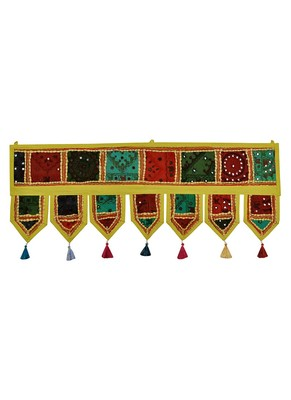 Lal Haveli Embroidery Patchwork Designer Handmade Window Valance Topper 39 X 16 inches