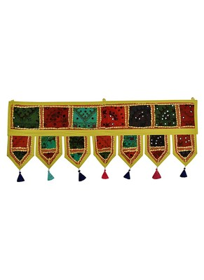 Lal Haveli Vintage Handmade Embroidered Patchwork Cotton Door Hanging 39 X 16 inches