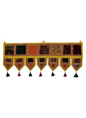 Lal Haveli Traditional Handmade Embroidery Patchwork Work Design Door Hanging 39 X 16 inches