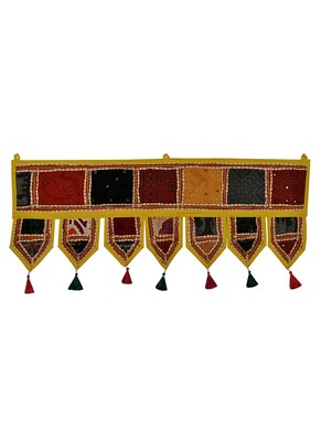 Lal Haveli Handmade Embroidered Cotton Door Valance 39 X 16 inches