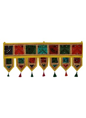 Lal Haveli Patchwork Embroidery Designer Decorative Cotton Door Hanging 39 X 16 inches