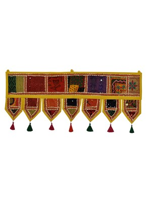 Lal Haveli Decorative Patchwork & Embroidery Design Cotton Door Hanging 39 X 16 inches