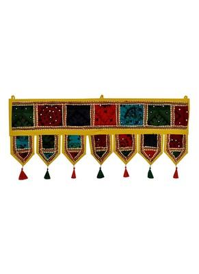 Lal Haveli Designer Handmade Embroidery Patchwork Cotton Door Hanging Toran 39 X 16 inches