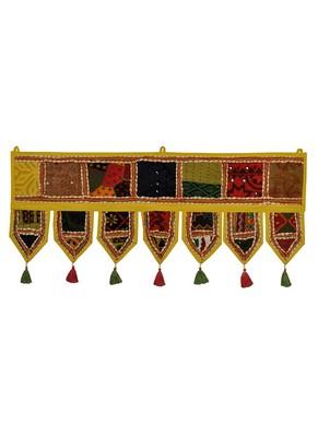 Lal Haveli Vintage Handmade Decorative Work Design Indian Door Hanging 39 X 16 inches