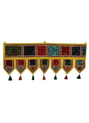 Lal Haveli Designer Handmade Ethnic Embroidery Patchwork Cotton Door Hanging Tapestry 39 X 16 inches