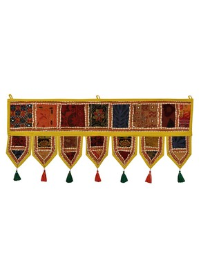 Lal Haveli Handcrafted Embroidery Patchwork Decorative Cotton Door Hanging Toran 39 X 16 inches