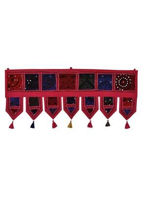 Lal Haveli Handmade Patchwork Design Embroidery Cotton Door Hanging Toran 39 X 16 inches