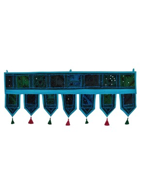 Lal Haveli Decorated Handmade Patchwork Embroidery Cotton Window Valance Topper Tapestry 39 X 16 inches