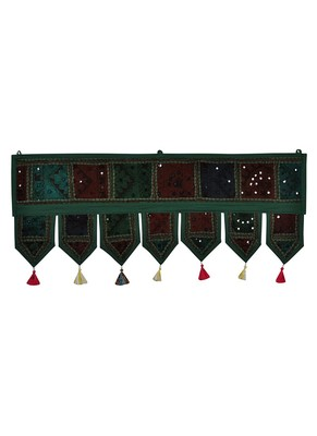 Lal Haveli Decorative Embroidery Work Design Cotton Window Treatment Valance 39 X 16 inches