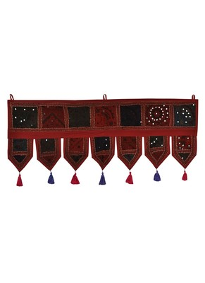 Lal Haveli Decorative Embroidery Patchwork Design Cotton Door Valance Hanging 39 X 16 inches