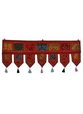 Lal Haveli Decorative Designer Embroidered Work Cotton Window Valance Door Hanging 39 X 16 inches