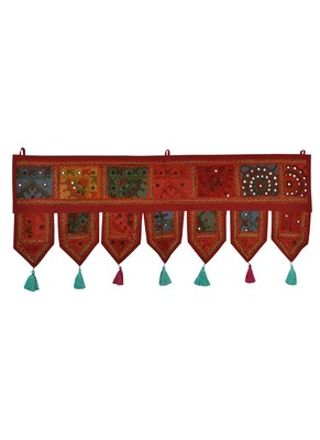 Lal Haveli Indian Traditional Design Embroidered Cotton Door Hanging Tapestries 39 X 16 inches