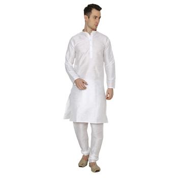 White Plain Dupion Silk Kurta Pajama