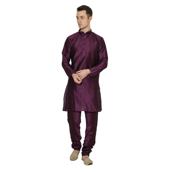 Purple Plain Dupion Silk Kurta Pajama