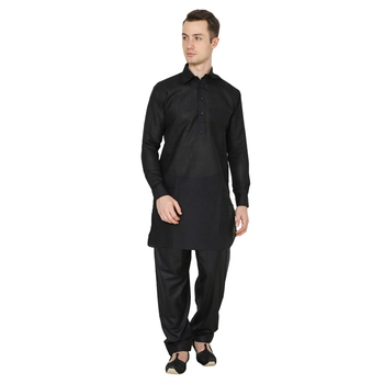 Black Plain Faux Cotton Pathani Suits