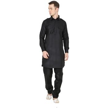 Black Plain Faux Cotton Pathani Suits